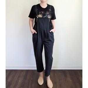 Vtg Black Boho Oversized Slouchy Overalls Pants XL